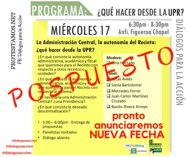 Cancelación Diálogos UPR Miércoles